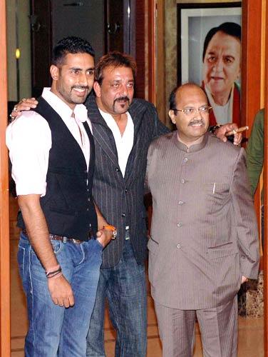Abhishek Bachchan and Samajwadi Party leader Amar Singh