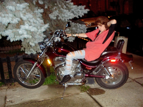 This is Leah, these are her jeans, and this is not her motorcycle.