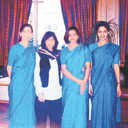 Mallika Sherawat in 1995 (far right)