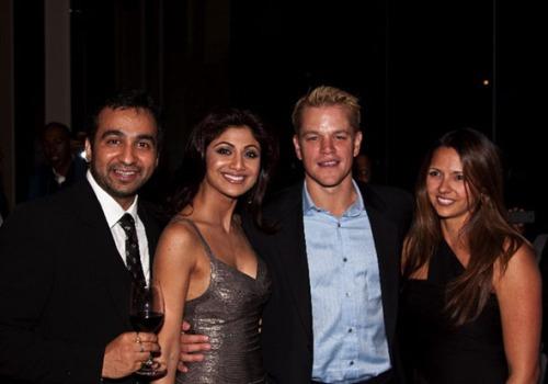 Raj Kunder, Shilpa Shetty, Matt Damon and