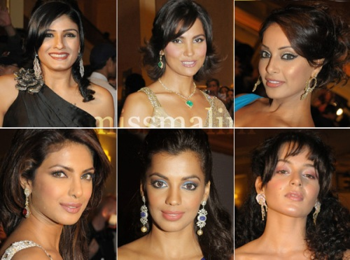Bejeweled: (top Left to bottom right) Raveena Tandon, Lara Dutta, Bipasha Basu, Priyanka Chopra, Mughda Godse and Kangana Ranaut